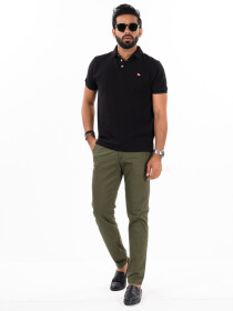 Men'sOlive Stretch Flat Front Slim Fit Chino Pant