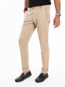 Men'sBeige Stretch Flat Front Slim Fit Chino Pant