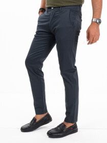 Men'sSpace Blue Stretch Flat Front Slim Fit Chino Pant