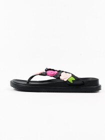 Women Black Floral Soft &Comfort Flip Flop