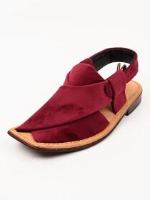 Hand-crafted Maroon Suede Leather Peshawari Chappal
