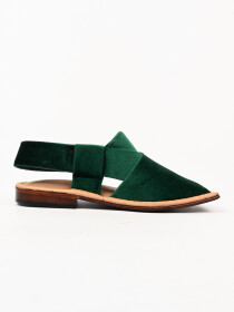 Hand-crafted Green Suede Leather Peshawari Chappal