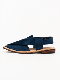 Hand-crafted Blue Suede Leather Peshawari Chappal