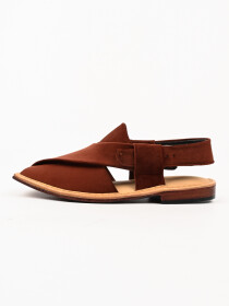 Hand-crafted Brown Suede Leather Peshawari Chappal
