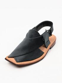 Hand-crafted Dark-Grey Suede Leather Peshawari Chappal