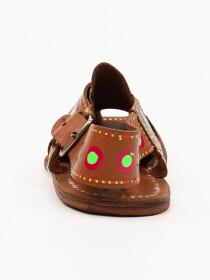 Hand-crafted leather Multi Brown Peshawari Chappal