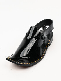 Hand-crafted leather Charcoal Black Peshawari Chappal