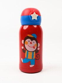 Cartoon Character Stainless Steel Kids Water Bottle with Flip-up Straw Spout - BPA Free Durable Design