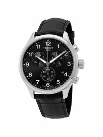 Chrono XL Classic gents watch black dial with black leather strap