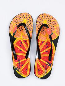 Women Orange & Black Fruit's Comfort Flip Flop