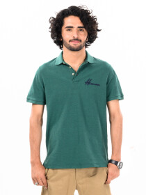 Men's Dark Green Iconic Mesh Regular Fit Short Sleeve Polo Shirt