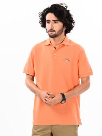 Men's Orange Iconic Mesh Regular Fit Short Sleeve Polo Shirt