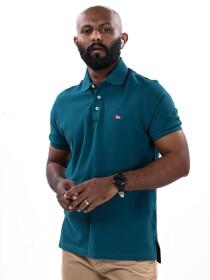 Men's Teal Iconic Mesh Regular Fit Short Sleeve Polo Shirt