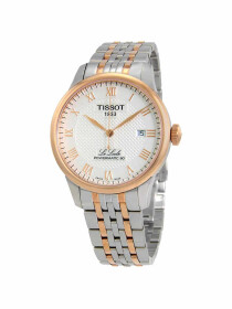 Le Locle Powermatic 80 Men's watch silver dial with rose gold & grey bracelet