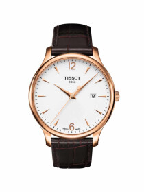 Tradition gents watch silver dial with brown leather strap