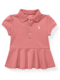 Cotton Piqué Peplum Polo Shirt