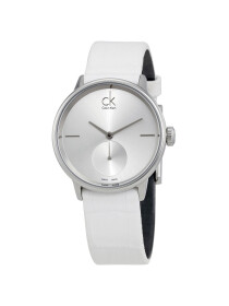 Calvin Klein  - Accent Analog Watch for Women - White & Silver