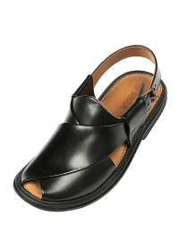 Black Round Shape Peshawari Chappal for Men