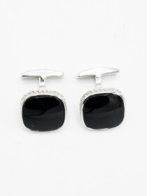 Sterling Silver Classic Formal Onyx Cufflinks