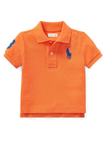 Cotton Mesh Polo Shirt - Orange