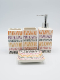 Bathroom Set Multicolor Stripes 4Pcs Set