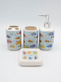 Bathroom Set Multicolor Fish Design 4Pcs Set