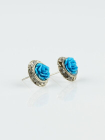 Classic Silver Colorful Flower Earrings