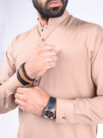 REGULAR FIT KURTA  JACQUARD BEIGE