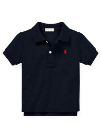 Cotton Mesh Polo Shirt - Navy