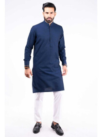 REGULAR FIT KURTA  JACQUARD INDIGO