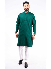REGULAR FIT KURTA  JACQUARD BOTTLE GREEN