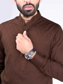 REGULAR FIT KURTA  JACQUARD CHOCO BROWN