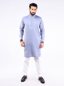 REGULAR FIT KURTA  JACQUARD SILVER GREY