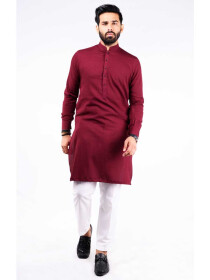 SLIM FIT KURTA JACQUARD RED