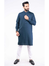 SLIM FIT KURTA  JACQUARD TEAL BLUE