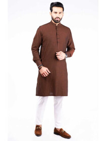 SLIM FIT KURTA JACQUARD RUST GOLD