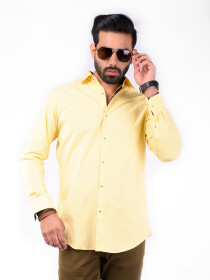 CUSTOM FIT SHIRT DT YELLOW GINGHAM CHECK
