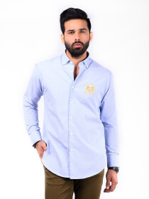 CUSTOM FIT KC SHIRT GOK SKY BLUE GINGHAM CHECK