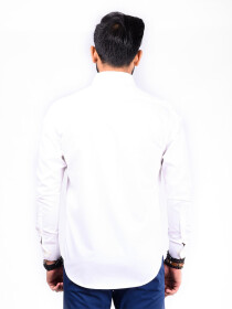 REGULAR FIT SHIRT HEARING BONE WHITE
