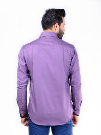 CUSTOM FIT SHIRT PURPLE HEARING BONE