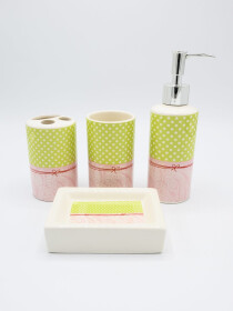 Bathroom Set Multicolor Fancy 4Pcs Set