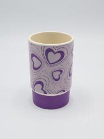 Bathroom Set Heart Design Purple Color Fancy 4Pcs Set