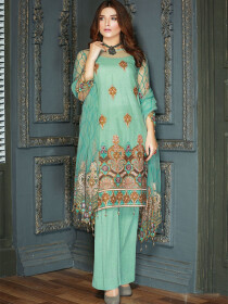 Mint Blue Embroidered Net Suit