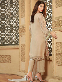 BEIGE EMBROIDERED CHIFFON  SUIT