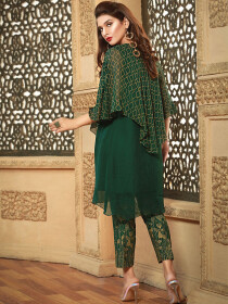 Green Printed Chiffon Cape