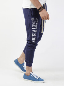 Navy Blue Printed Slim Fit Joggers