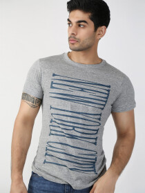 Grey Printed Round Neck T-Shirt