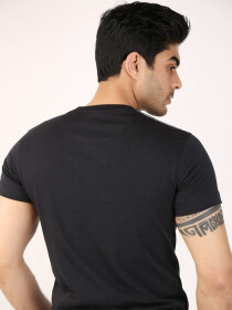 Black Printed Round Neck T-Shirt
