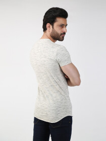 Light Gray Solid V-Neck T-shirt