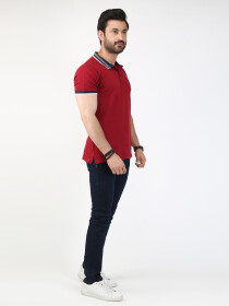 Maroon Solid Polo Collar T-shirt